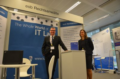 Certified Lawyer for Information Technology Law Stefan Ansgar Strewe and Lawyer Heike Nikolov at the Silicon Saxony fair 2013