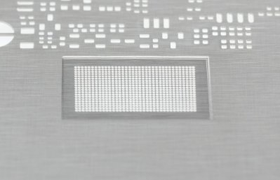 Step stencil; material partially reduced in thickness from 150µm to 90µm